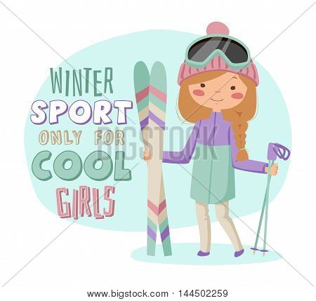 Girl with skis. Girl in jacket and ski goggles.