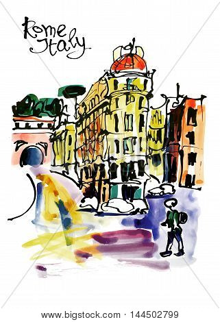 original watercolor sketch hand drawing of Rome Italy famous cityscape, travel card, vector illustration