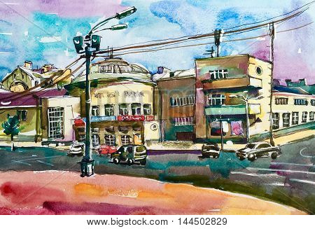 original pleinair painting of Podol Kyiv Ukraine cityscape, watercolor sketch illustration for travel book, or postcard