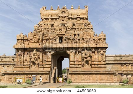 Tanjore temple in Tamil Nadu India Unesco building