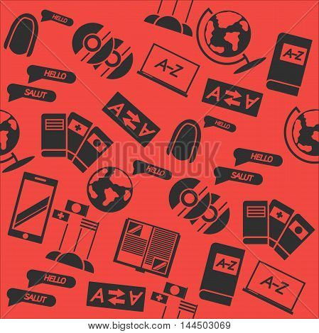 Languages education collage pattern. Hand drawn Vector illustration.