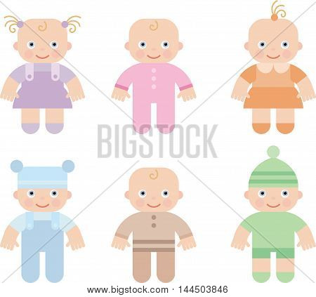 cute children boys and girls, vector cartoon illustration