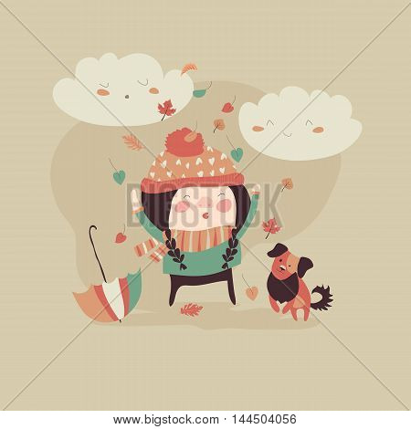 Girl playing with autumn leaves. Vector illustration