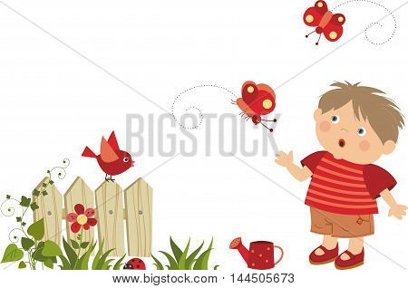 young boy walking , vector cartoon illustration isolated