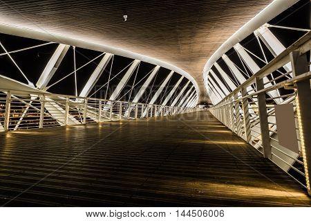 modern architecture the bridge on a background night sky