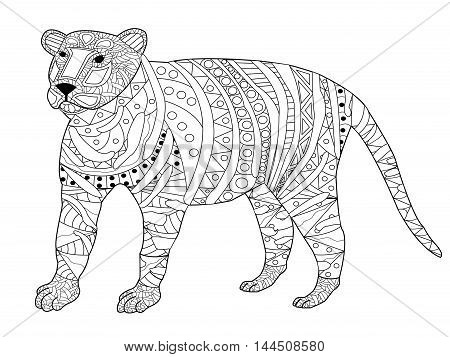 Tiger coloring book for adults vector illustration. Anti-stress coloring for adult. Zentangle style. Black and white pattern pussycat