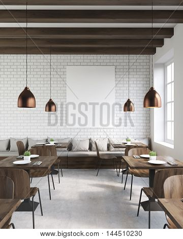 Coffee shop interior with wooden tables and chairs vertical poster and ceiling lamps. Concept of hipster lifestyle. 3d rendering. Mock up.