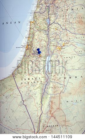 Israel With Pushpin Illustrative Editorial