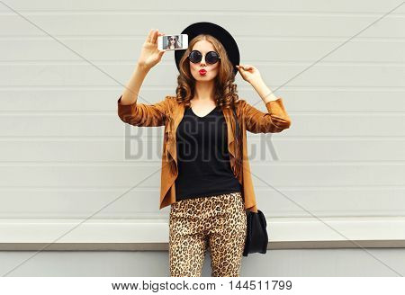 Fashion Pretty Young Woman Model Taking Photo Picture Self-portrait On Smartphone Wearing Retro Eleg