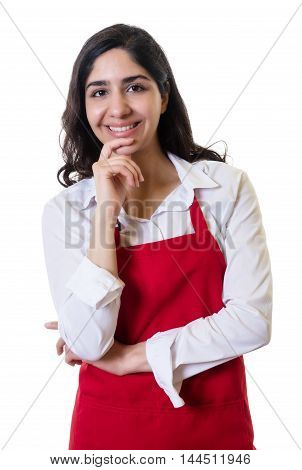 Laughing arabic waitress with red apron on an isolated white background for cut out