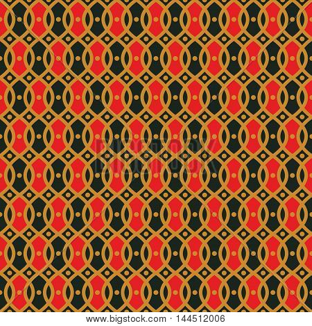 Seamless pattern with wavy lines and dots. Trellis wallpaper on a classic pattern. The geometric print pops with bold yellow lines and black and red elements. Seamless vector ornamental background.