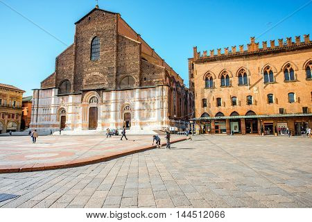 Bologna, Italy - May 24, 2016: View on San Petronio church on the main square in Bologna city. It is the largest church built in bricks in the world.