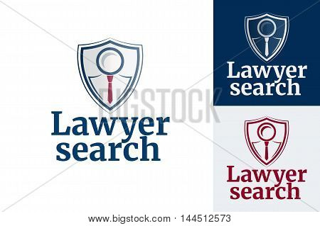 Law firm logo design. Lawyer search. Magnifying glass and tie. Vector illustration.