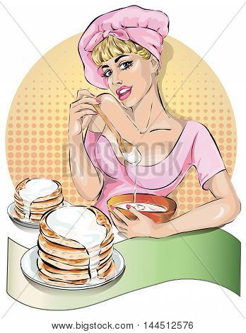 Pin-up cook woman in pink dress kneads the pancakes dough. Fashion sexy wife hand drawn vector illustration Background