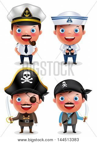 Ship captain, seafarer and pirates vector character set with uniform, holding sword and smiling isolated in white background. Vector illustration.