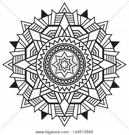 Black vector mandala print with magic star on white background. Fantasy circle ornamental element inspired by the art deco style. Great for wall decal cover cards t-shirt interior tattoo design.