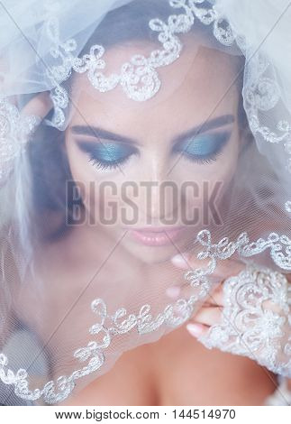 Portrait of bride with a veil and makeup.