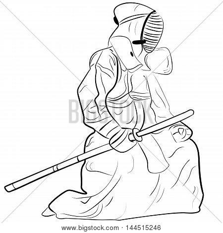black and white sketch kendo samurai vector