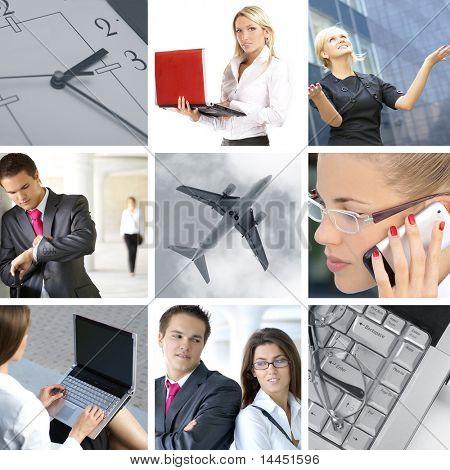 Geschäft Collage hergestellt aus neun Geschäft Bilder (Warnung! Es gibt einige Geräusche im Flugzeug)
