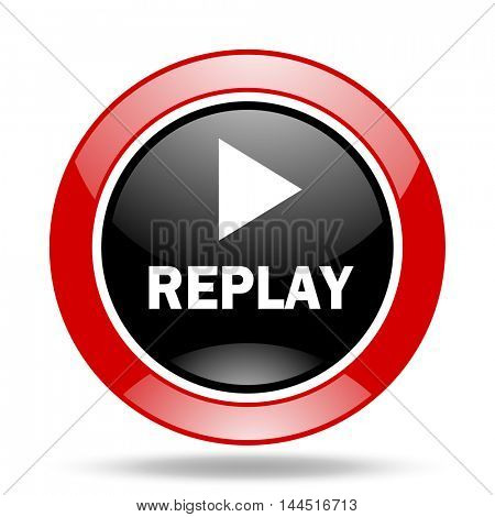 replay round glossy red and black web icon