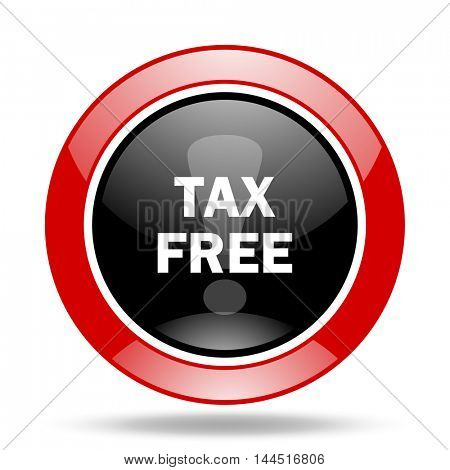 tax free round glossy red and black web icon