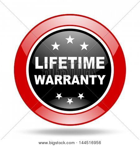 lifetime warranty round glossy red and black web icon