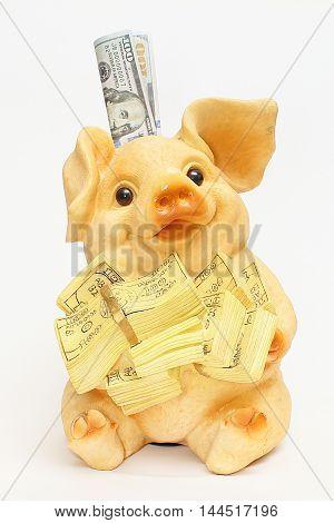 Pig piggy bank with money piggy bank money for debugging a dream