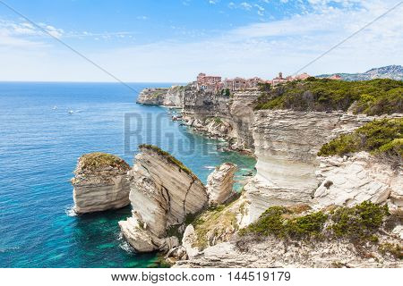 View Of Bonifacio Old Town Built On Top Of Cliff Rocks, Corsica Island, France