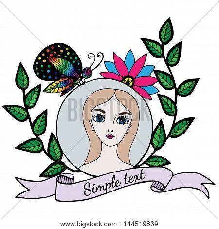 Colorful young beautiful girl with butterfly and ribbon for text. Mono color black line art element for adult coloring book page design.