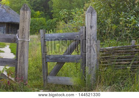 Old Rural Rustic Wooden Fence Deatail Stock Photo