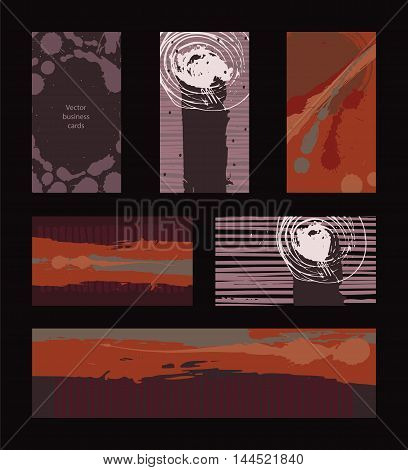 Vector collection of dark colored business vertical and horizontal cards and banner hand drawn with liquid ink and brush with splashes stripes and imperfections. Set of isolated on black designs