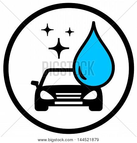 round car wash symbol with car and blue drop