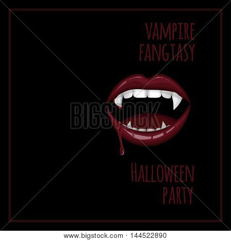 Vampire bloody smile. The poster for the costume party in the vampire style.