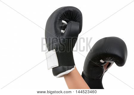 hands in boxing gloves isolated white background
