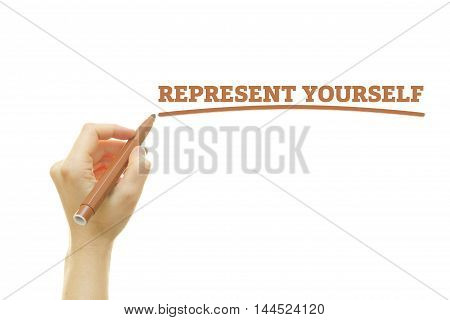 Woman hand writing Represent Yourself on a transparent wipe board. Introduce Yourself to customers.