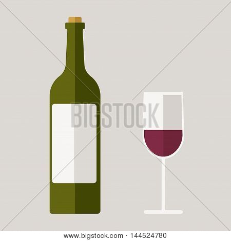 Red wine bottle and glass. Flat vector stock illustration.