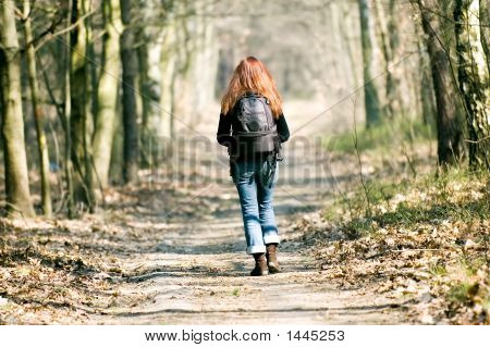 Woman Walking Through The Forest