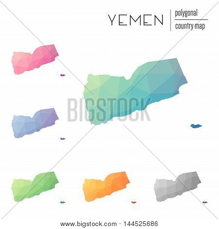 Set Of Vector Polygonal Yemen Maps. Bright Gradient Map Of Country In Low Poly Style. Multicolored Y