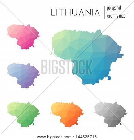 Set Of Vector Polygonal Lithuania Maps. Bright Gradient Map Of Country In Low Poly Style. Multicolor