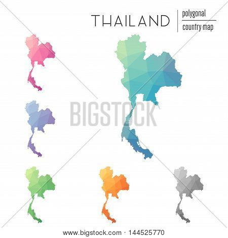 Set Of Vector Polygonal Thailand Maps. Bright Gradient Map Of Country In Low Poly Style. Multicolore