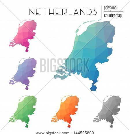Set Of Vector Polygonal Netherlands Maps. Bright Gradient Map Of Country In Low Poly Style. Multicol