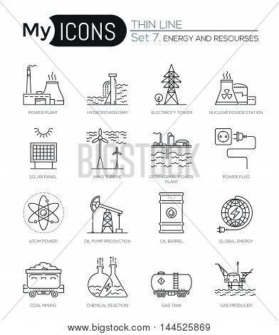 Modern thin line icons set of energy produsing industry, power plants, resources. Premium quality outline symbol collection. Simple mono linear pictogram pack. Stroke vector logo concept for web graphics.