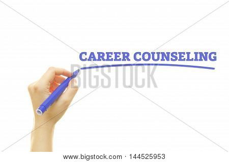 Woman hand writing Career Counseling on a transparent wipe board.
