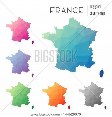 Set Of Vector Polygonal France Maps. Bright Gradient Map Of Country In Low Poly Style. Multicolored