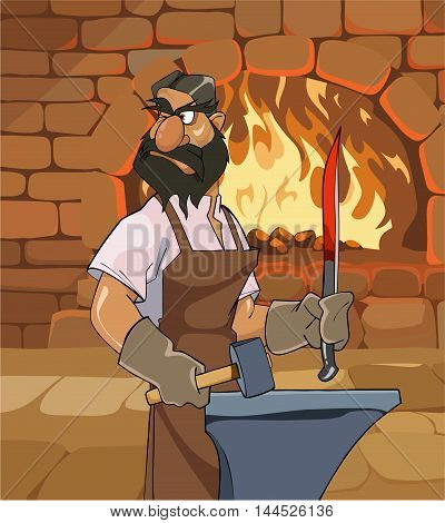 cartoon male blacksmith forges a sword and menacingly looks back