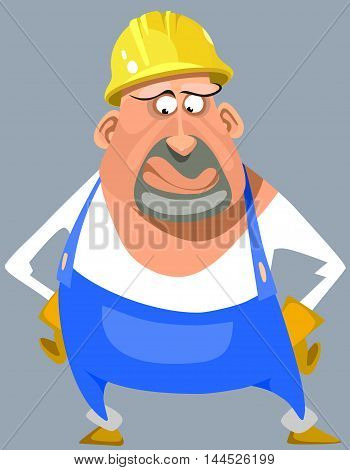 cartoon puzzled man in overalls and a helmet