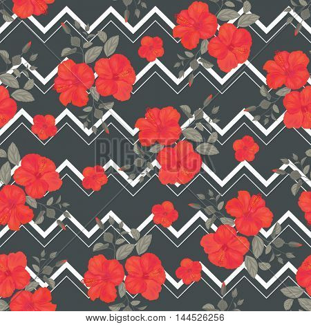 Hibiscus Flower Seamless Pattern with Zigzag Stripes . Summer Ornament. Gypsy Stile.