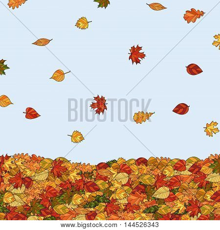 abstract vector doodle falling autumn leaves background