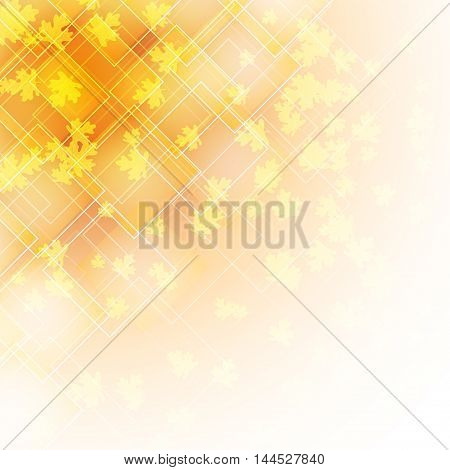 abstract background with transparent rhombus shapes and falling autumn leaves. vector illustration
