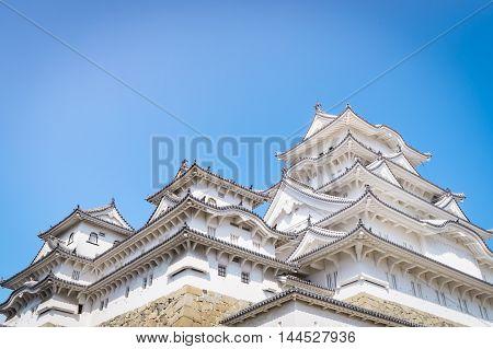 Ancient Himeji Castle in Winter blue sky
